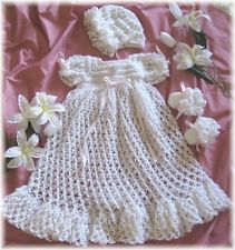 """CROCHET PATTERN for """"PEACE/LOVE""""Christening Gown Set by REBECCA LEIGH--NB/3 MO."""