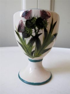 Beautiful Wemyss Ware Scottish Thistle Footed Egg Cup - Griselda Hill Pottery