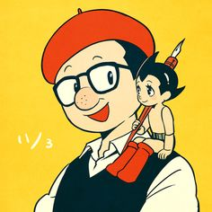 I love how Osamu Tezuka draws himself its adorable ☺