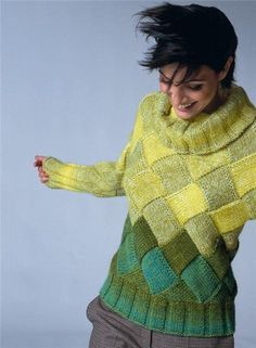 Pulli with entrelac Knitting Stitches, Knitting Patterns Free, Knit Patterns, Hand Knitting, Yarn Colors, Pulls, Knitting Projects, Knitwear, Knit Crochet
