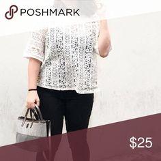 Loft White Lace Blouse Worn twice!  White lace mock neck blouse.  Measurements available on request! LOFT Tops Blouses