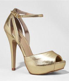 Express Womens Butterfly Back Open Toe Platform Sandal Shiny Gold, 7.5
