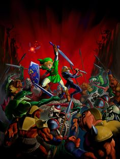 Ocarina of Time official artwork - Link & Shiek vs. a load of enemies