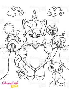 A sweet coloring book full of merry and funny unicorns. Fun adventures of unicorns that meet various animals, fly balloons, dance at the disco, meet fairies and jump on a rainbow. Unicorn Coloring Pages, Coloring Pages For Kids, Coloring Books, Unicorn Drawing, Heart Shaped Cookies, Happy Animals, Amazing Adventures, Heart Shapes, Balloons