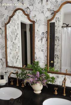 beautiful brass mirrors & faucets for the bathroom paired with bird print wallpaper via Dear Lillie Upstairs Bathrooms, Downstairs Bathroom, Bathroom Renos, Bathroom Interior, Master Bathroom, Nature Bathroom, Silver Bathroom, Bathroom Wallpaper Birds, Grey Wallpaper