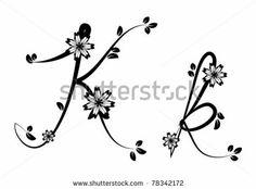 Letter K Floral Font By Color Symphony Via ShutterStock FontTattoo DesignsTattoo