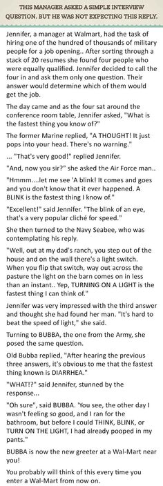 Best Reply To An Interview Question. This Is Genius.