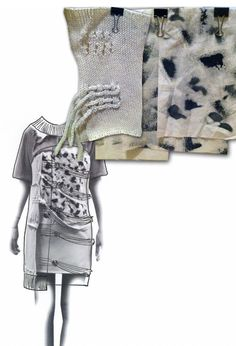 Fashion Sketchbook - fashion drawing + knit & dye samples; fashion portfolio layout // Heidi Kalliokoski