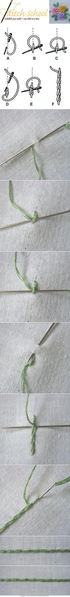 Portuguese Stem stitch ...... beautiful effect !!!