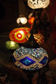 Turkish glass mosaic lamps