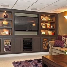 Best home entertainment center ideas for the living room centers basement renovations and modern b . build your own system entertainment center ideas Built In Wall Units, Built In Cabinets, Tv Cabinets, Stock Cabinets, Gray Cabinets, Mirror Cabinets, Storage Cabinets, Deco Tv, Built In Entertainment Center