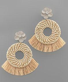 Tassel Trim Circle Raffia Earrings I Love Jewelry, Simple Jewelry, Jewelry Making, Cute Earrings, Beaded Earrings, Crochet Earrings, Thread Jewellery, Textile Jewelry, Other Accessories