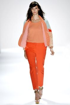 Jill Stuart Spring 2012: Stuart plays with bright and pastel, in hues of the season's signature tangerine color.