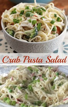 Crab Pasta Salad This Crab Pasta Salad Is Always A Hit At Parties Backyard Barbecues And Holidays It Is A Loaded Salad With Crab Meat Peas Broccoli Green Pepper And Onion Save This Easy Recipe For Later Crab Meat Salad, Crab Pasta Salad, Seafood Salad, Seafood Dishes, Pasta Dishes, Spaghetti Salad, Sea Food Salad Recipes, Crab Meat Recipes, Healthy Pasta Recipes