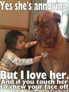 THIS IS MY DOGUE DE BORDEAUX AND MY LITTLE GIRL ALL OVER