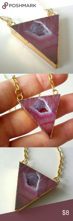 "Pink genuine druzy geode slice triangle necklace Natural beauty meets a chic, modern shape!  Gold-plated triangle pendant.  Measures about 26"" in length.  Stunning!  I'm selling my massive jewelry collection to help pay for home repairs and renovations.  Price is firm, but bundle and save 10%! Jewelry Necklaces"