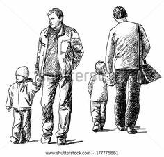 men and kids - stock photo
