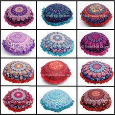 """Indian Mandala Fringe Pillow Case 16"""" Ethnic Home Decor Round Sofa Cushion Cover #Handmade #ArtDecoStyle"""