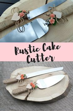Rustic chic wedding cake server set with coral flowers,burlap rope and stainless steel finish. Coral flowers, wood heart and rope wedding cake cutting. Wedding Cake Cutting, Wedding Cake Server, Wedding Cakes, Chic Wedding, Rustic Wedding, Cake Cutters, Glass Centerpieces, Rustic Cake, Flutes