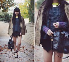 nylon pocketbooks - Grey Knit Top, Lace Shorts, Silver Metal Choker, Prada Inspired ...