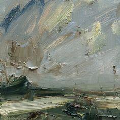 Louise Balaam 'Low fields, pale light', oil on board, 20 x 20cm
