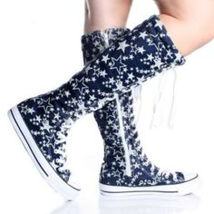 Knee High Sneakers Blue Lace Up Boots Canvas Star Womens Skate Shoes Size 9