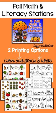 Fall Math and Literacy Stations for Kindergarten. Time4kindergarten.com