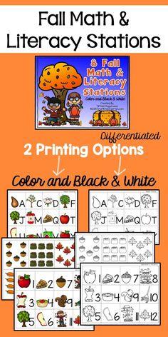 Fall Math and Literacy Stations for Kindergarten. Time4kindergarten.com