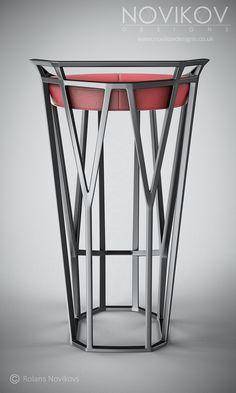 Octa Stool - Grey metallic frame with red leather seat by Novikov Designs www.novikovdesigns.co.uk