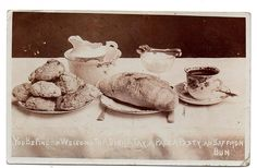 A DISH O' TAY, A PACE A CORNISH PASTY AN SAFFRON BUN | Cornwall: Postcard postmarked St Blazey 1911.     ✫ღ⊰n St Blazey, Cornish Pasties, Cornwall, Wales, Dishes, Welsh Country, Tablewares, Dish, Signs