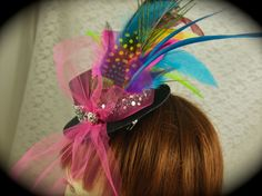 """Mini Top Hat Fascinator Clip - """"FAT TUESDAY""""- Peacock, Pink, Blue, Green, and Yellow Feathers. Mardi Gras/ Bachelorette Party"""