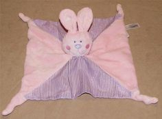 Babies R Us Pink Purple Bunny Rabbit Security Blanket Lovey Knotted Ends Rattle #BabiesRUs