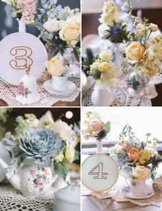 embroidered hoop table numbers tea cup and tea pot floral arrangements succulent table centrepieces