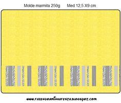 Amarelo e Prata e Cinza - Kit Completo com molduras para convites, rótulos para…