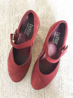 18797c22 Hotter Shoes Runway Red Leather Nubuck UK 3 Low Heel Mary Jane Comfort