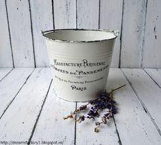 """DIY """"French Made"""" metal pot - age borders with black acrylic and apply waterslide decal paper with desired graphic from the amazing Graphics Fairy."""