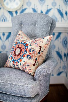Furbish Studio, island ikat wallpaper, suzani pillow, john robshaw upholstery fabric, blue dining room