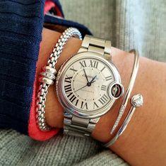 Stacking white gold and diamond fope bracelet + Cartier Balon Bleu + Chains of Gold serpent bracelet   Stunning #braceletstack  #finejewelry #cartier #bracelets #jewerlryporn