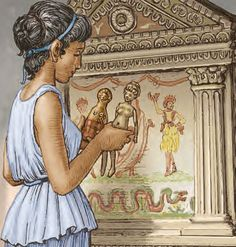 Ara larium. Finis pueritiae ~ an offering at the family shine ~ the end of…