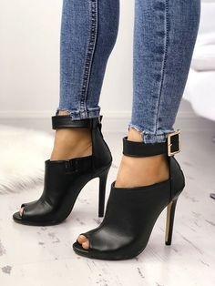 Shop Stylish Open Toe Buckle Thin Pumps right now, get great deals at joyshoetique Gladiator Sandals Heels, High Heels Stilettos, Shoes Heels, Pumps, White Heels, Stiletto Heels, Pretty Shoes, Beautiful Shoes, Open Boot