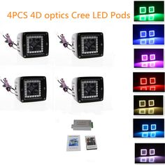"3"" Led Cube Remote Control Colormorph Halos Flash 12 Colors Led Pods Waterproof Driving Lights Pods with 4D optics(Pack of 4)"