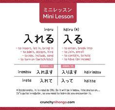ミニレッスン : Differentiate Japanese Verbs: 入れる Ireru and 入る Hairu