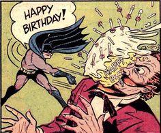 Happy Birthday from Batman retro vintage comic book pop art illustration
