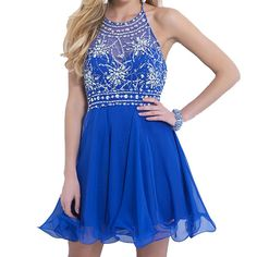 Women's A-line Round Brought Short Tulle Crystal Prom Dresses on Luulla