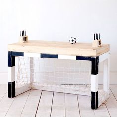 JAN table in black & white. XO-in My room Table Furniture, Kids Furniture, Football Bedroom, Boys Soccer Bedroom, Football Nursery, Casa Kids, Mad About The House, Kid Spaces, Kids Decor