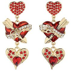 "Ritzy Couture by Esme Hecht ""Love Life"" 2.5"" Heart & Arrow Dangle Earrings"
