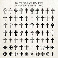 Cross SVG Cut Files, Crosses SVG Cut Files, Christian SVG Bundle - svg dxf eps png - Silhouette Cameo, Cricut, Cutting Machines & Transfer 70 Cross Silhouettes Clip Art Clipart SVG cut by seaquintdesign Small Cross Tattoos, Celtic Cross Tattoos, Cross Tattoos For Women, Small Tattoos, Tattoos For Guys, Cross Tattoo On Wrist, Simple Cross Tattoo, Cross Tattoo Designs, Cross Designs