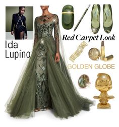 """Golden Globe Style~contest"" by loves-elephants ❤ liked on Polyvore featuring Monique Lhuillier, Elsa Peretti, Jimmy Choo, Urban Decay, Marco Bicego and Anne Sisteron"