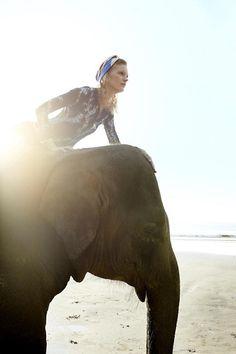 Strand-Hopping von Taprobane nach Kubalgama auf dem Rücken des Elefanten. Top mit blauen Indigo-Details von Louis Vuitton.