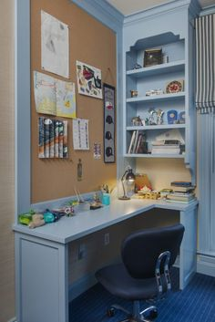 Whether you're home-schooling or whether you've been wanting to create a kids desk area for a while, take inspiration from these chic kids desk spaces. Kids Homework Space, Kids Desk Space, Homework Desk, Kid Desk, Kitchen Desk Areas, Kitchen Desks, Kitchen Nook, Toy Kitchen, Cool Kids Bedrooms